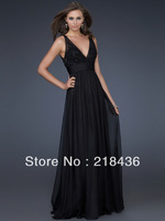 2014 Style A-line V-neck  Lace Sleeveless Floor-length Chiffon Prom Dresses / Evening Dresses Free Shipping (XZ02807)