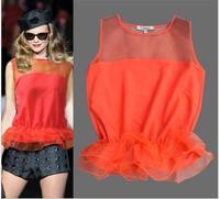 2013 women's fashion sleeveless top organza silk fashion sweep chiffon shirt summer vest