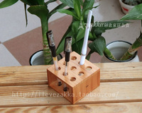 Log desktop supplies pine square round hole penholder chejian wood office decoration