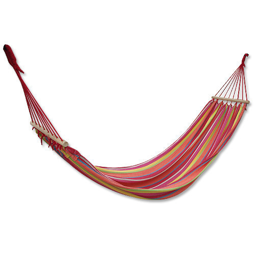 100% cotton striped canvas hammock belt wooden sticks outdoor hammock fashion color of the(China (Mainland))
