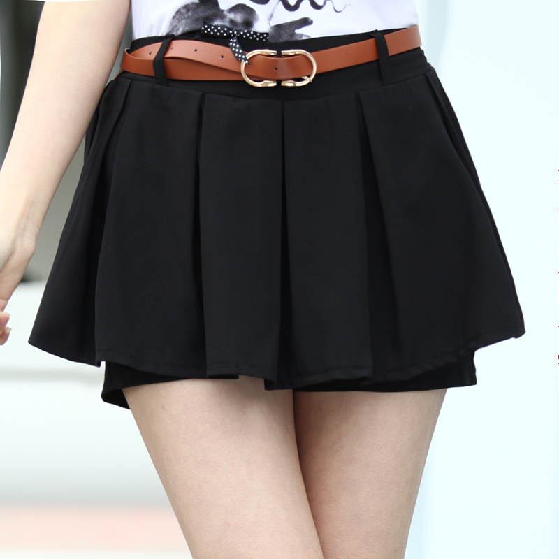 Shorts half-length pleated skirt pants high waist chiffon female belt shorts lotus leaf short skorts 189(China (Mainland))