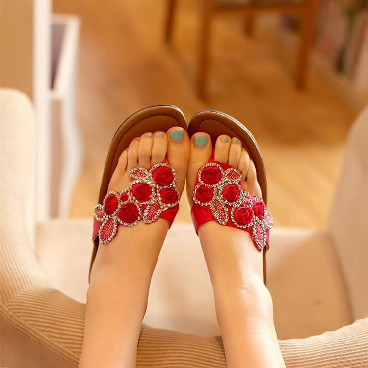 Advanced PU sweet flower wedges slippers sandals sk8125 35(China (Mainland))