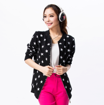 Plus size clothing summer mm new arrival five-pointed star print cardigan coat thin 2013 spring and autumn cotton(China (Mainland))