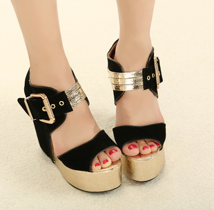 Super u.s. foot buckle color block decoration high-heeled sandals open toe platform wedges sandals(China (Mainland))