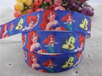 2013 new arrival 7/8''  22mm mermaid princess grosgrain ribbon cartoon satin ribbon girls ribbon 10 yards tape