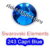 ss7 GENUINE Swarovski Elements Capri Blue ( 243 ) 144 pcs ( NO hotfix Rhinestone ) Round Crystal Glass 7ss 2058 FLATBACK Bulk(Hong Kong)