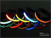 Freeshipping LED pet collar flashing dog collar necklace/cat collar outdoor Glow Nylon 12 pcs/lot