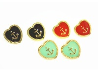 Min $10 New fashion love heart  Anchor Stud Earring Free Shipping