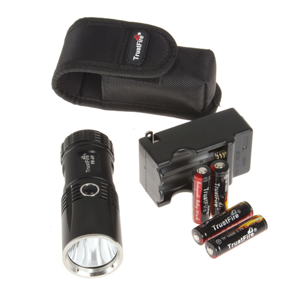 TrustFire TR-A9 800 Lumens CREE XM-L U2 LED Flashlight Tactical Torch With 4X 14500 900mAh Rechargeable Battery + Charger Box(China (Mainland))