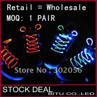 10pcs/lot 2011 Best Price Shining Brignt LED Shoelace LD001P free shipping