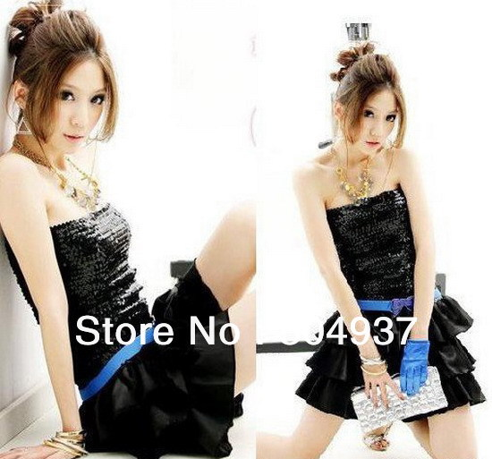 Hot Sale Sexy Sequined Stage Costumes Mini Ball Gown Slash Neck Sleeveless Skirt /Nightclub Show/Night Dancer Skirt 7 Colours(China (Mainland))