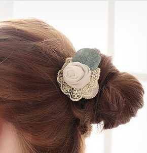 shefine hair jewelry Korea tire hair bands hair rope headdress flower lace ribbon rope rubber band Japanese import(China (Mainland))