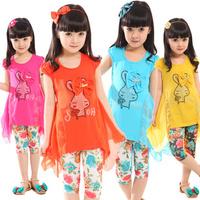 2013 spring female child set 2013 summer set child set girls clothing