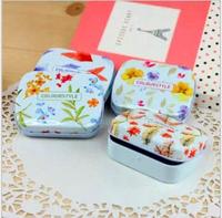 24pcs Lovely Flower Pattern Mini Tin Case, Mini Jewelry Tin Box, Girl Make Up Metal Box Free Shipping