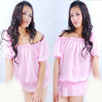2014 new quality women's summer sexy sleepwear princess pink dress nightgown set temptation