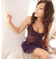 Noble purple sexy sleepwear transparent lace spaghetti strap nightgown princess dress set sleepwear temptation freeshipping