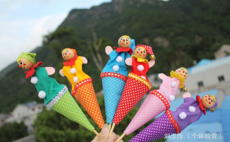 free shipping , Wooden DIY toys,dial dial people, clown telescopic stick, classic peek-a-boo parent-child games, children's toys(China (Mainland))