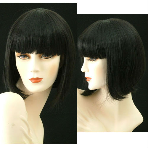 Medium Wigs Adorable China Doll Silky Off Black 10pcs/lot(China (Mainland))