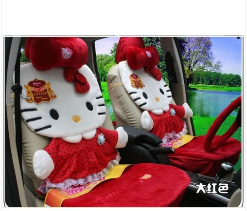 red color car seat covers 12pcs hellokitty car rearview front seat saddle covers cushion hello kitty(China (Mainland))