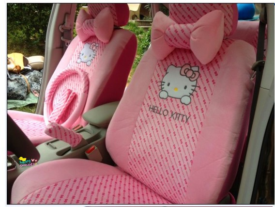 car rearview front seat covers pink EMS 18pcs hellokitty car cushion car seat covers car cushion(China (Mainland))