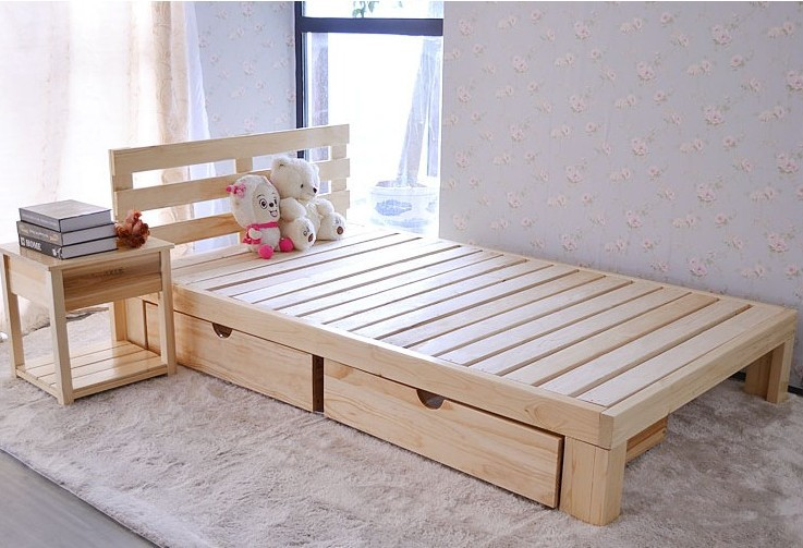 Special offer Pine Single bed Double bed1.2Meter1.5Meter1.8Meter Tatami bed Customize(China (Mainland))