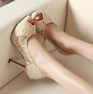 2013 spring fashion sexy lace open toe high-heeled shoes female wedding shoes breathable cutout ol female shoes(China (Mainland))