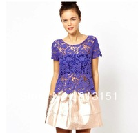 Free Shipping 2013 Women's Girls Three-dimensional carving embroidery Hollow Out Lace XS-XL Size Casual  Blouse Ladies  shirt