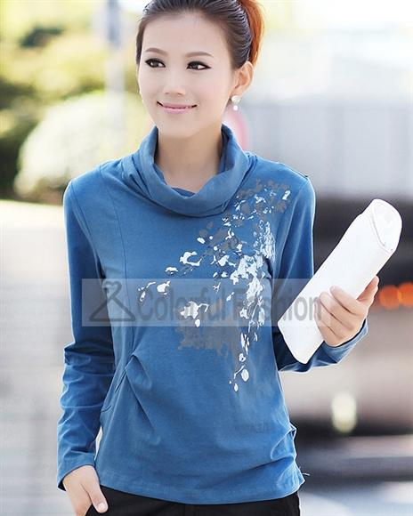 Comfortable Printing Cotton Long Sleeve Women T Shirts(China (Mainland))