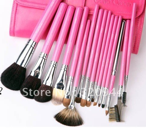16 pcs/sets Eyeshadow Cosmetic Brusher Makeup Brush Set Kit With Roll Up Pink Bag Case Free Shipping(China (Mainland))