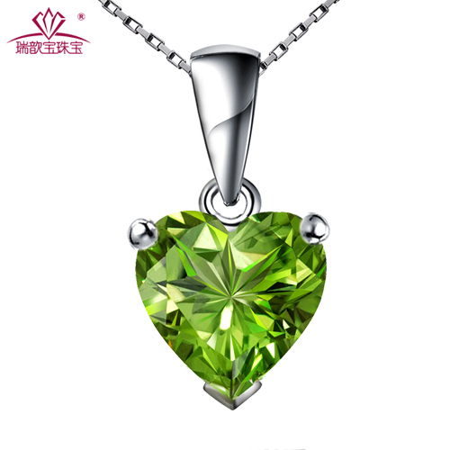 925 pure silver accessories natural peridot gem necklace female short design fashion chain(China (Mainland))