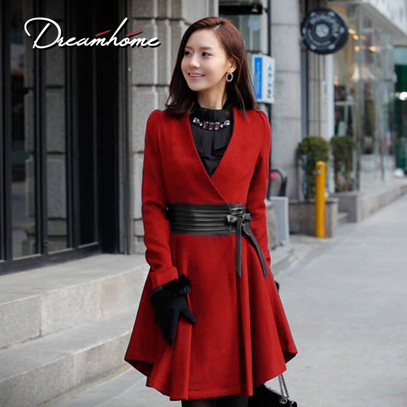 Wool wool coat autumn and winter outerwear fox fur medium-long skirt dress(China (Mainland))