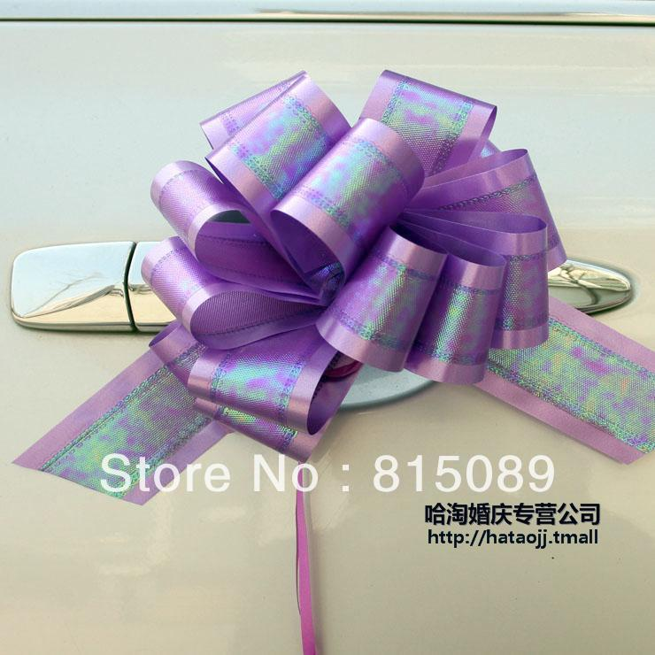 free shipping pull flower ball ribbon bow large size 5cm gift box wedding car house decoration christmas tree ornament(China (Mainland))