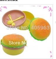 Free shipping lovely Hamburger Shape Bento Lunch Box Spoon Fork Kit Dinnerware kids cartoon dinner case dropship