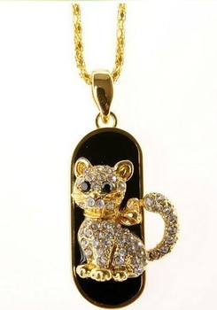 Free shipping!!!Crystal cat shape U disk usb flash memory drive  4GB 8GB 16GB 32GB  One year warranty USB44