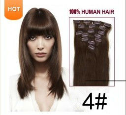 15inch 38cm 7pcs clip in 100% human hair extensions 7pcs/pack clip in human hair extension #4 medium brown70gram(China (Mainland))