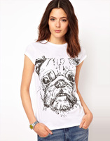 Womens o-neck cotton short sleeve t-shirt with pug dog printed for freeshipping and wholesale