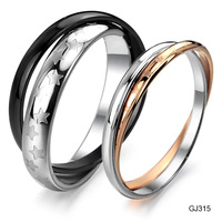 Accessories jewelry personalized double layer titanium lovers ring gj315