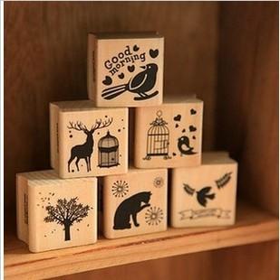 c31-78 New vintage animal series wood stamp / gift stamp / 6 designs