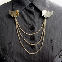24pcs/lot Free Shipping Metal Angel Wing Shirt Collar Chains Vintage Collar Brooches Pins for Women