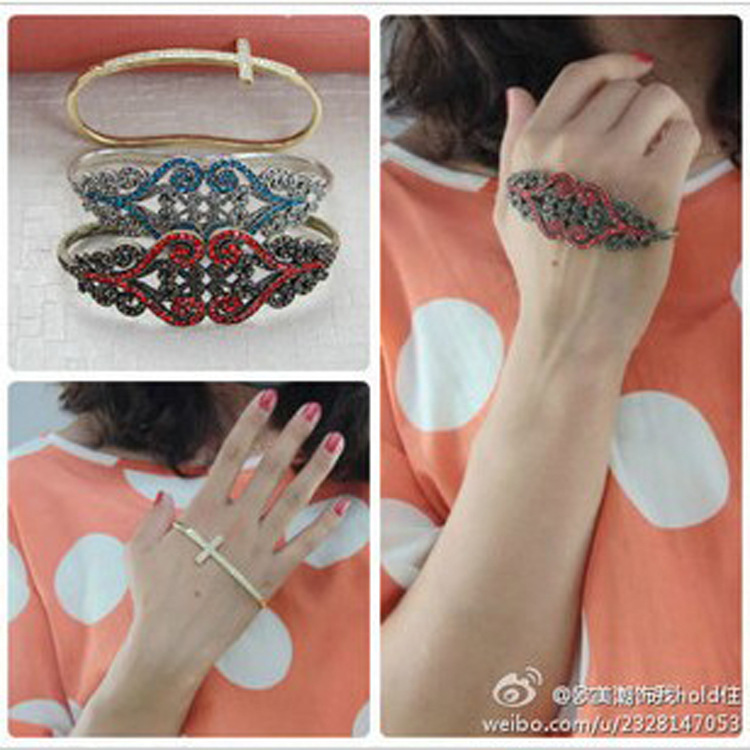 H060 exaggerated jewelry women in Europe and America retro palm ring the cross diamond bracelet big design influx of people para(China (Mainland))