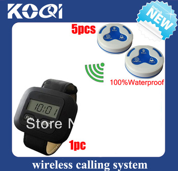 New product Restaurant buzzer systems paging system of 1 watch pager + 5 table service bell 100% waterproof DHL free shipping