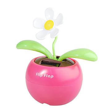 Solar Powered Flip Flap Flower Plant White