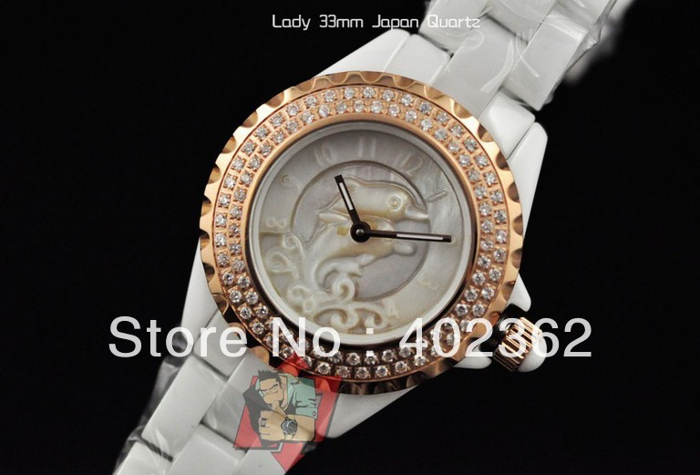 Ladies Dolphin Display White Ceramic Watch Gold Pave Double Row Diamond Bezel Woman's Ladys Quartz W(China (Mainland))