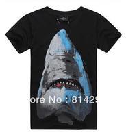 Free  shipping   Sharks men's fashion trend of cotton shirts men's short sleeve T-shirt