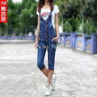 Free shipping Summer elastic roll up hem jean overalls women's denim jumpsuits jeans suspenders jumpsuit capris denim overalls