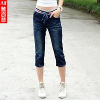 Free shipping Fashion all-match elastic waist plus size loose denim slim straight jeans 3306 knee-length capris