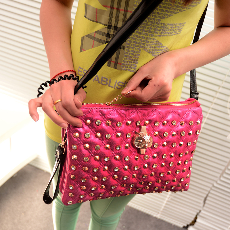 2013 neon day clutch rhinestone diamond owl female bags banquet bag shoulder bag(China (Mainland))
