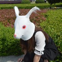 White rabbit head latex mask rabbit wigs ktv mask halloween animal mask latex buck costume