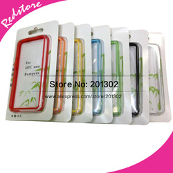 Dual Color Transparent Clear Side Soft TPU Bumper Case For HTC ONE M7 With Retail Package, Mix Color 10pcs(Hong Kong)