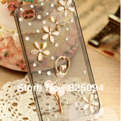 DHL 100PCS free shipping Hard Plastic Diamond Rhinestone ballet dancer for iPhone 4 4G 4S(China (Mainland))